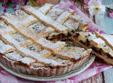 Crostata ripiena di ricotta e gocce di cioccolato