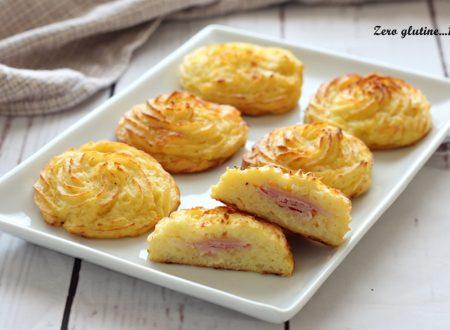 Cestini di patate ripieni di prosciutto cotto