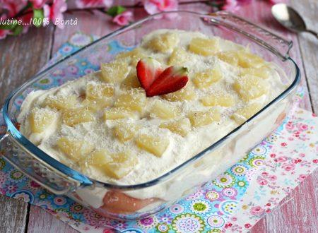 Tiramisù con crema e ananas