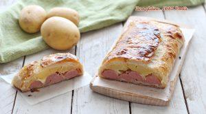Rustico con würstel, patate e mozzarella