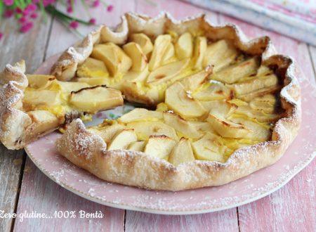 Crostata di pasta sfoglia con crema e mele