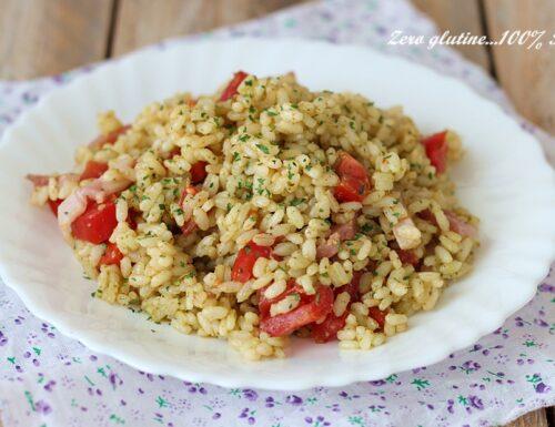 Insalata di riso al pesto e speck