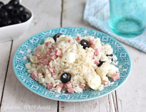Insalata di riso con prosciutto e mozzarella