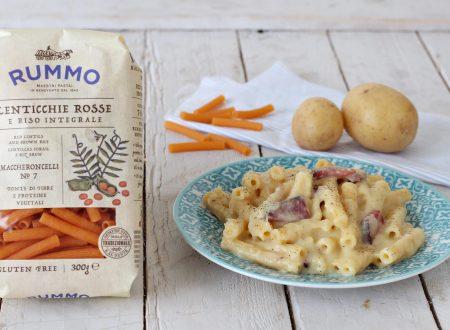 Maccheroncelli con crema di patate e speck
