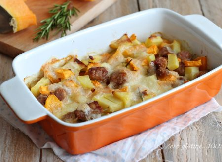 Contorno di zucca e patate con mozzarella e salsiccia