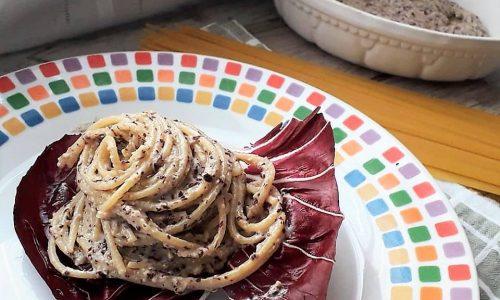 Spaghetti Cremosi al Pesto di Radicchio