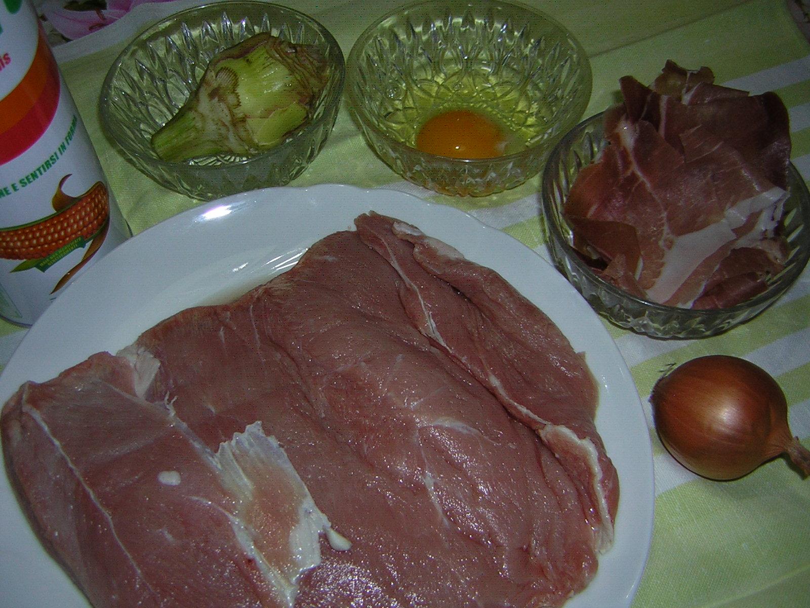 ingredienti per il rollè di vitello con funghi