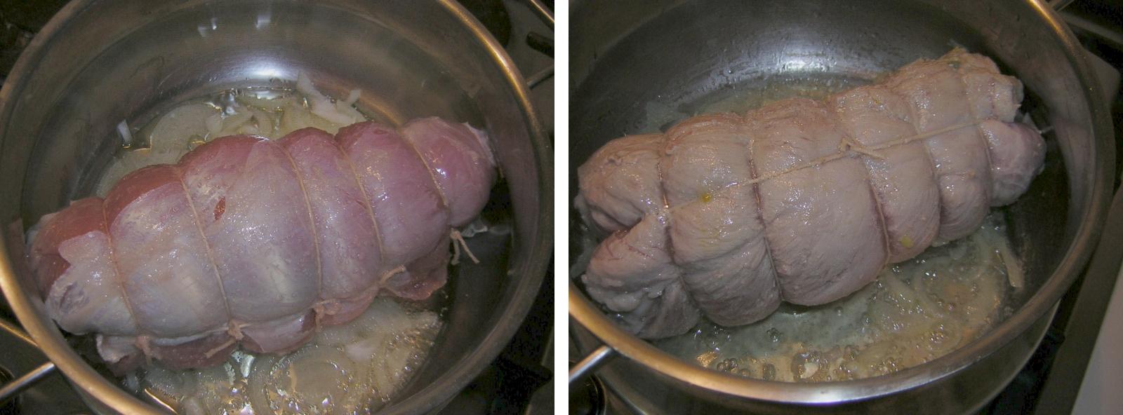 rollè di vitello con carciofi in cottura