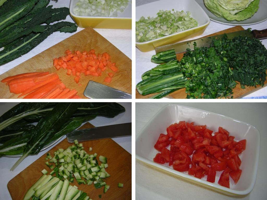 preparazione delle verdure per la ribollita