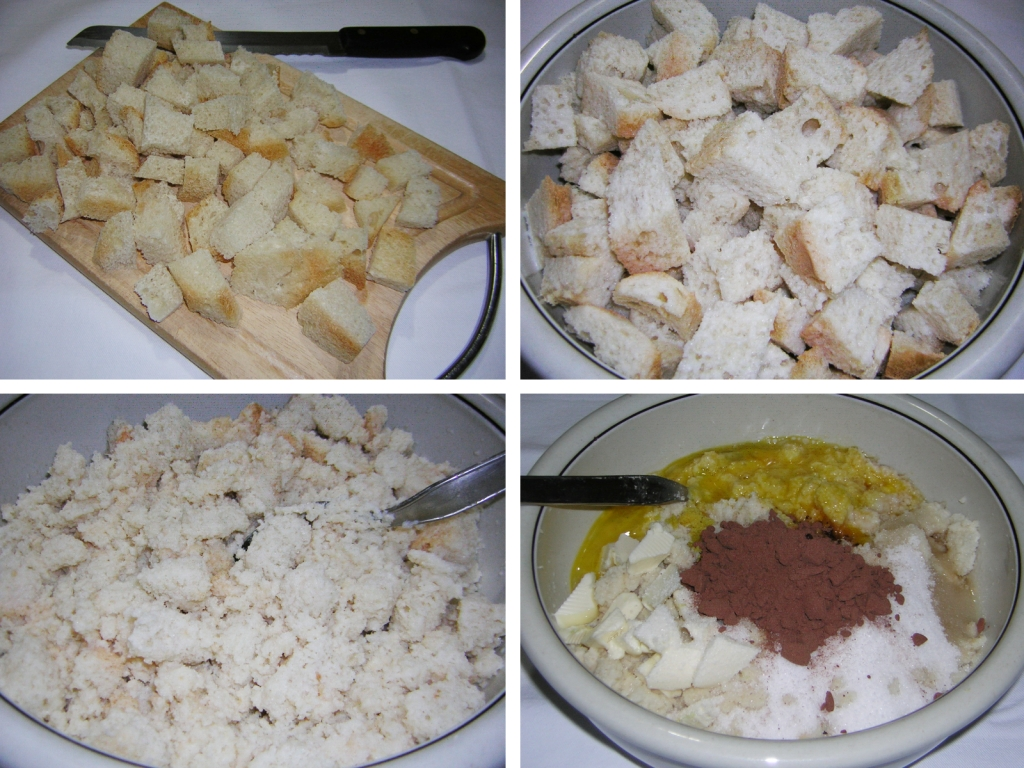 preparazione della torta di pane al cioccolato