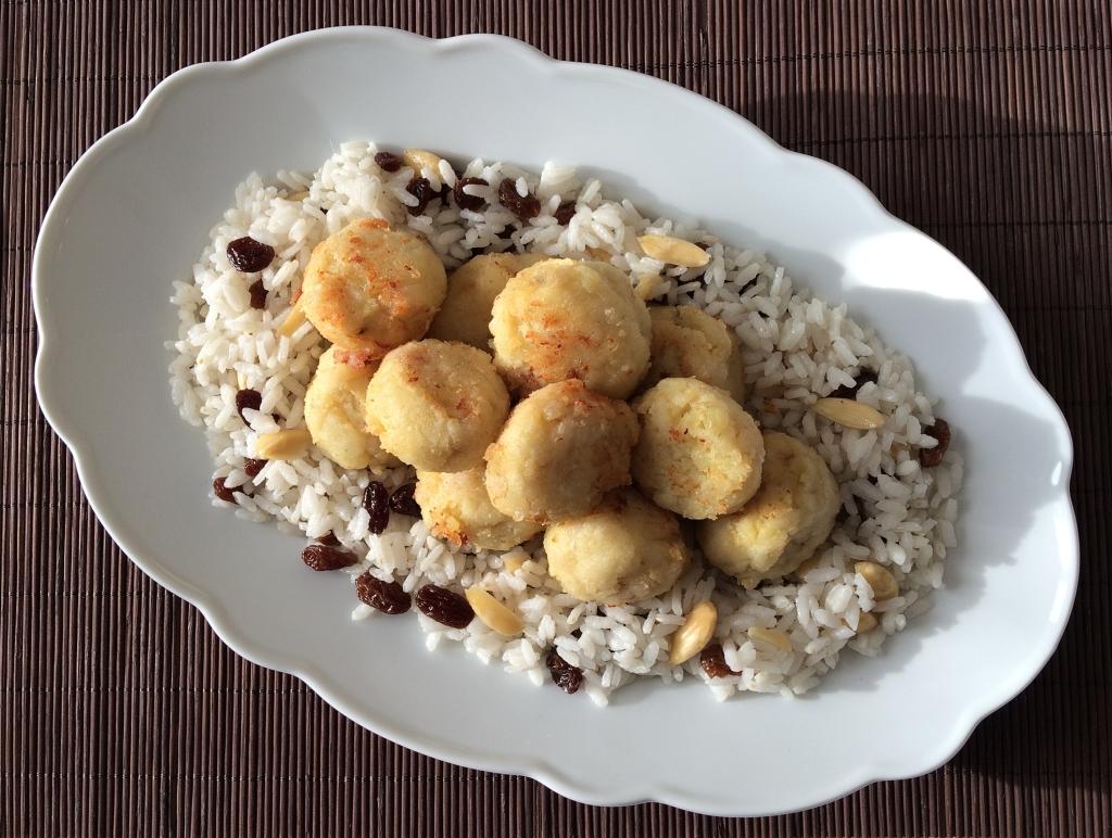 riso con polpette di merluzzo