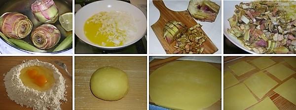 preparazione dei cannelloni con ricotta e carciofi