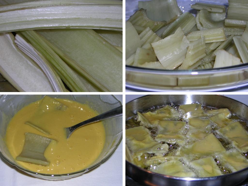 preparazione del cardo o gobbo fritto con pastella