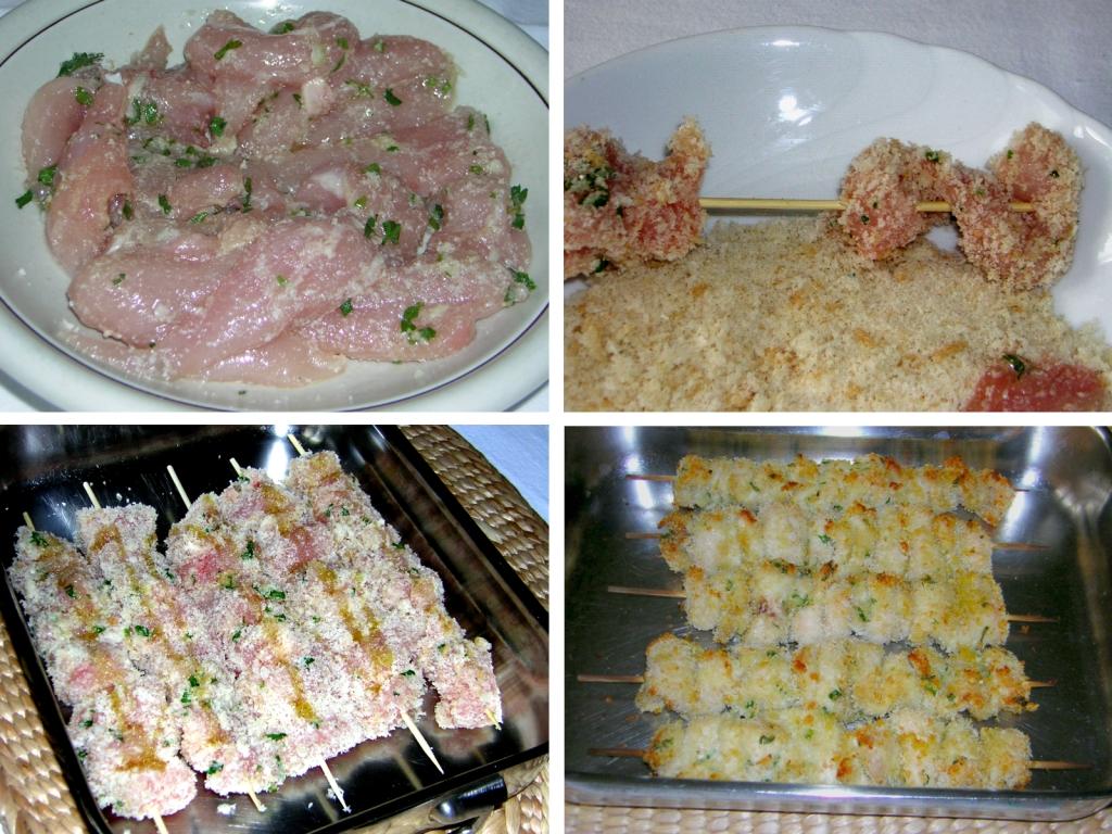 preparazione degli spiedini di petto di pollo al forno