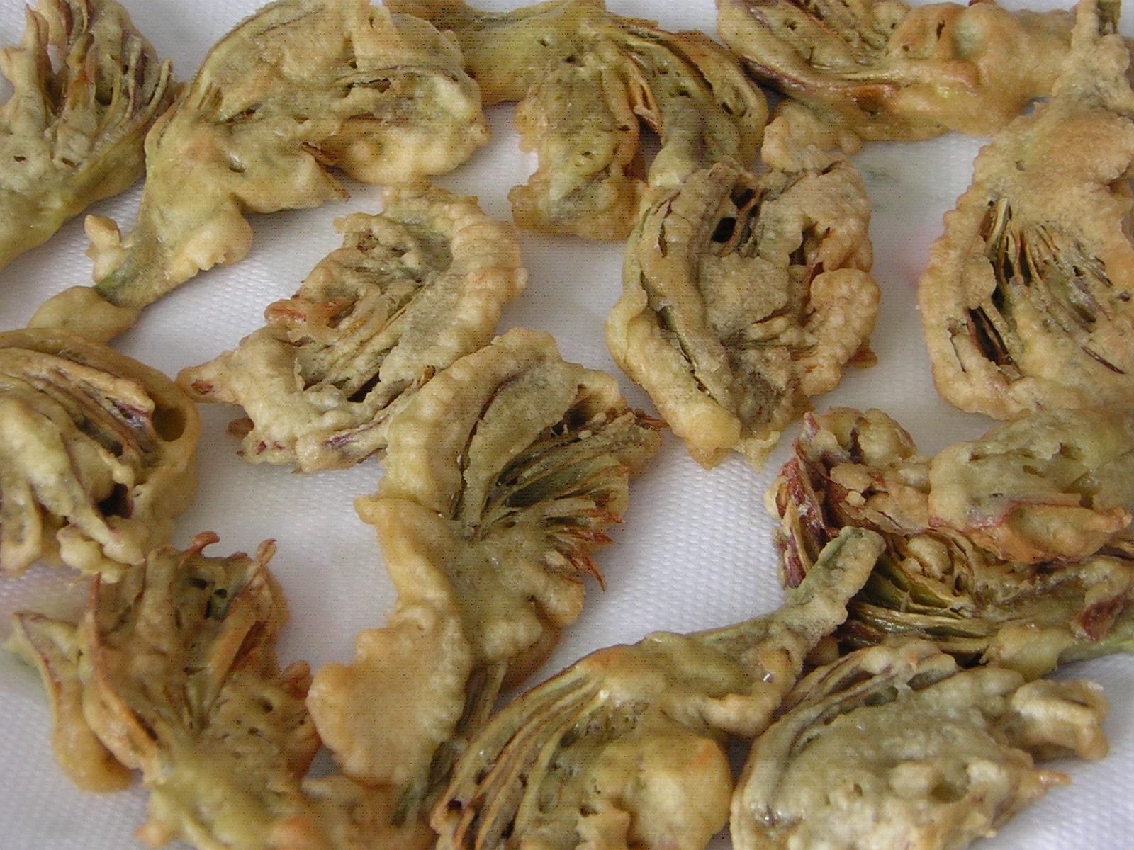 carciofi fritti con pastella cotti