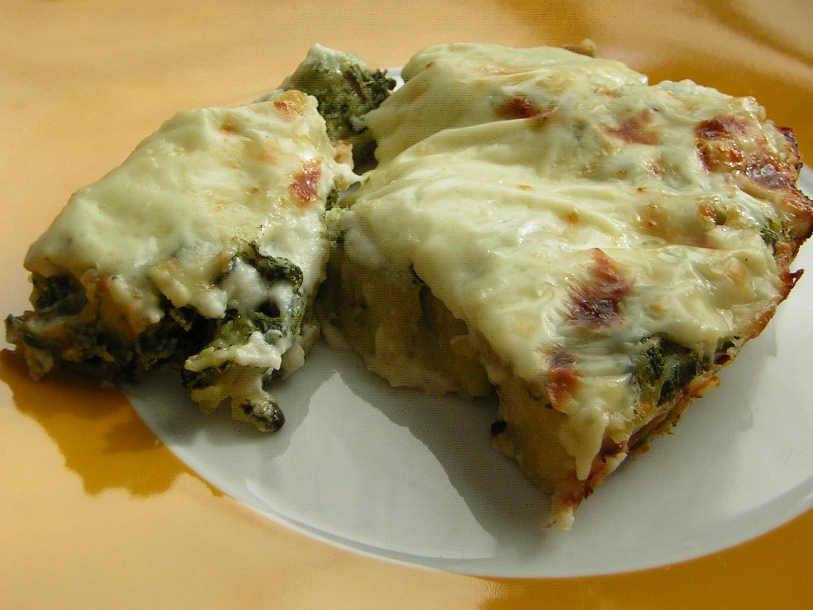 girelle di pasta al forno con spinaci
