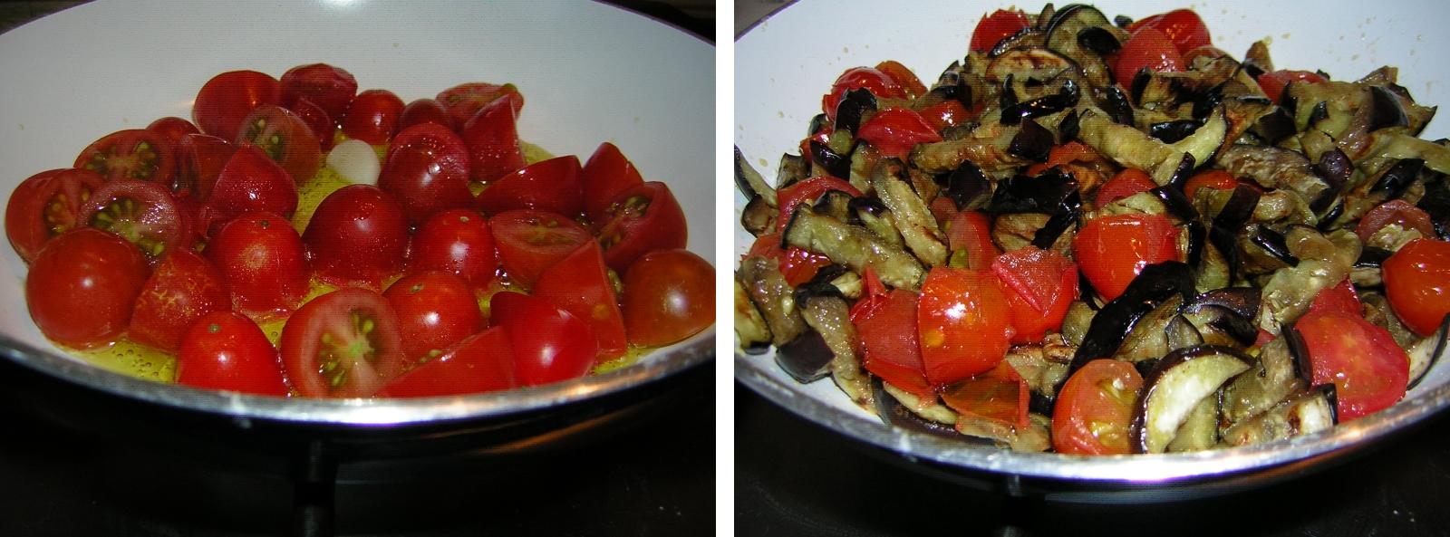 preparazione della pasta con melanzane grigliate