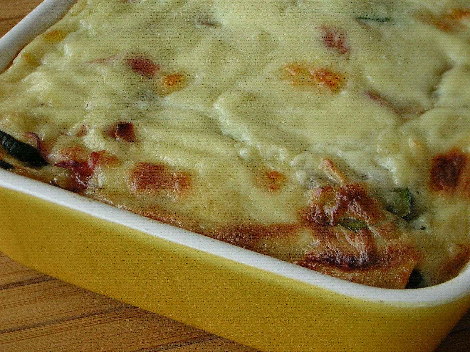 lasagne con zucchine appena sfornate