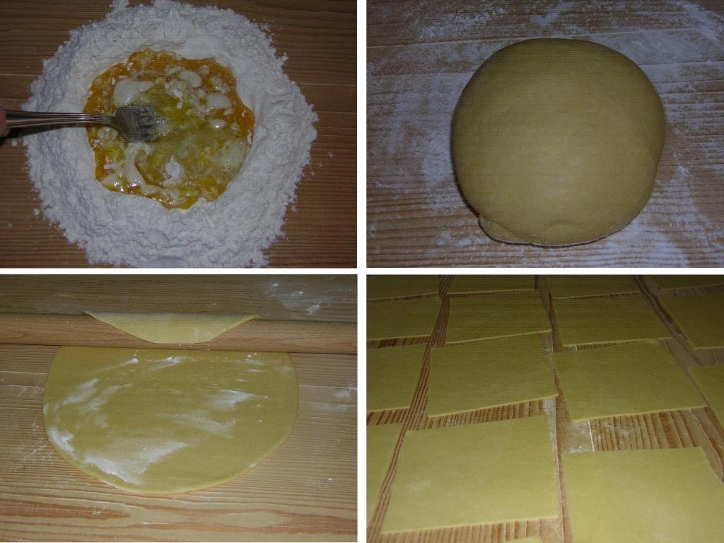 preparazione della sfoglia per le lasagne con zucchine