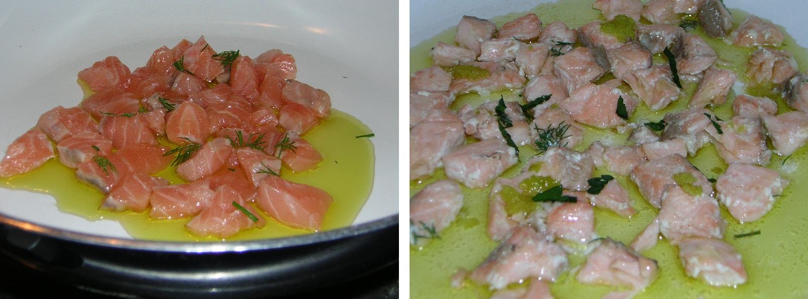 preparazione delle caserecce con salmone fresco