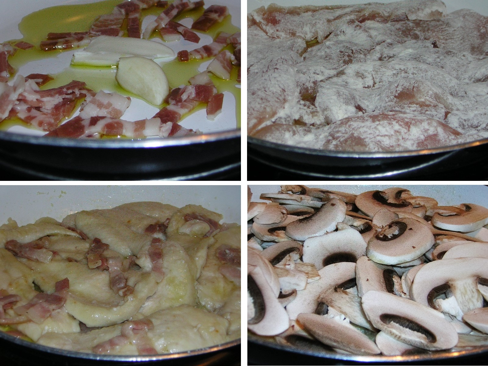 preparazione del petto di pollo funghi e pancetta