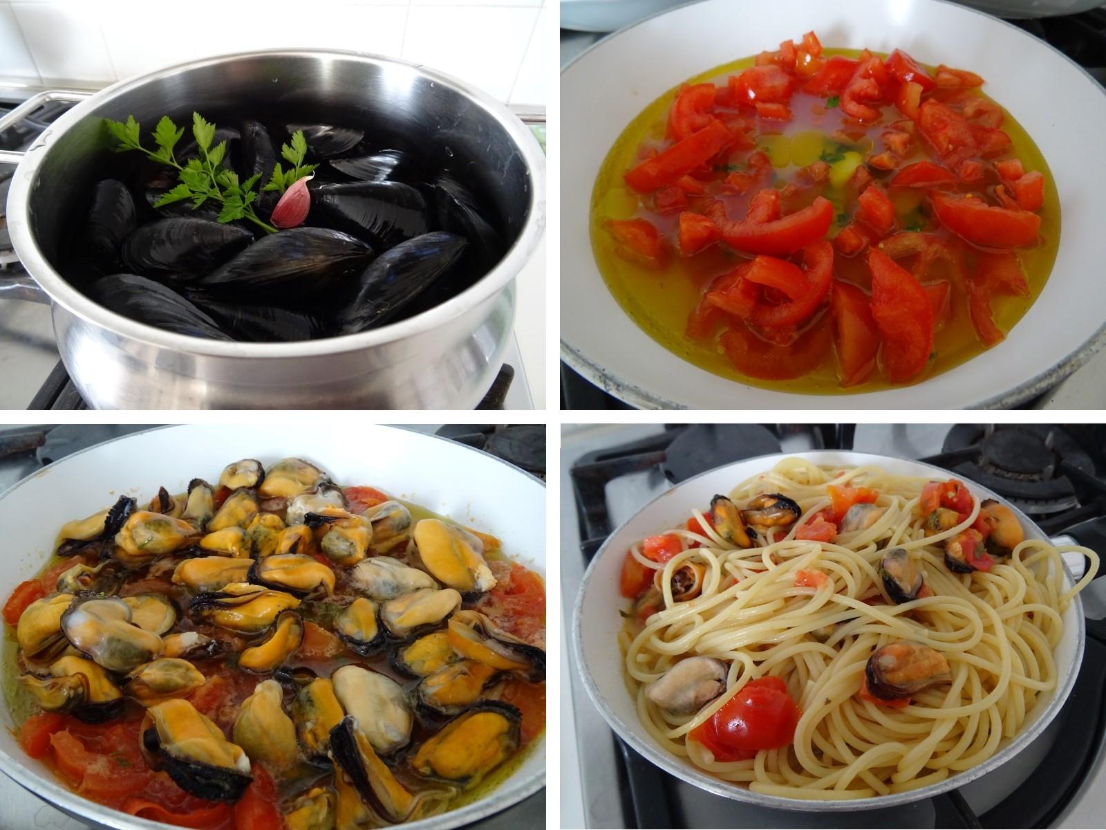preparazione degli spaghetti con cozze e pomodorini