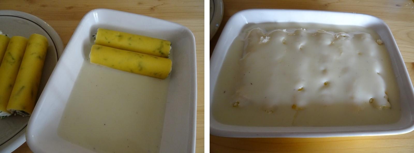 preparazione dei cannelloni ricotta e asparagi