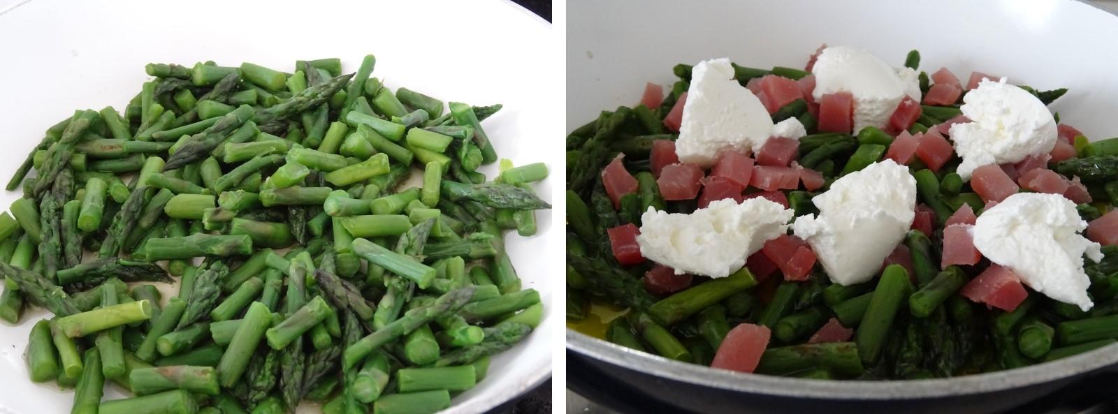 preparazione della paglia e fieno asparagi e lonzino
