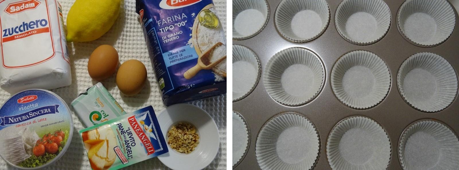 ingredienti dei muffin con ricotta e limone