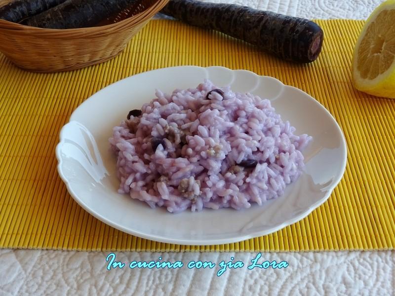 risotto con carote viola e salsiccia