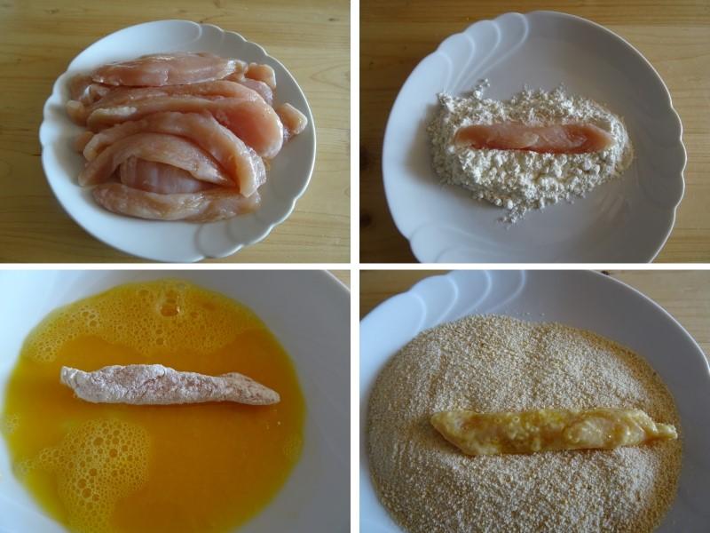 preparazione dei bastoncini di pollo fritti croccanti