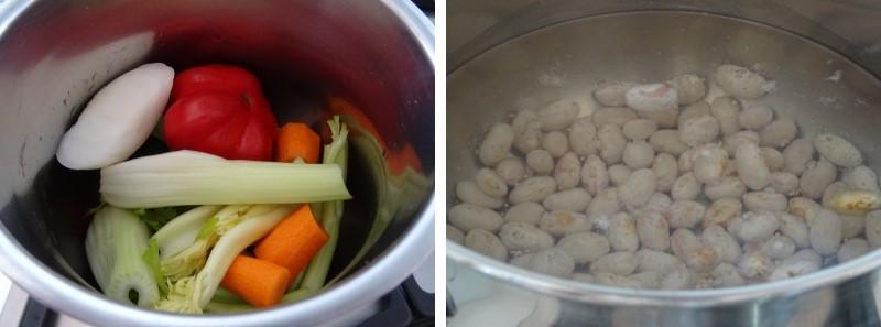 preparazione della pasta e fagioli con borlotti freschi