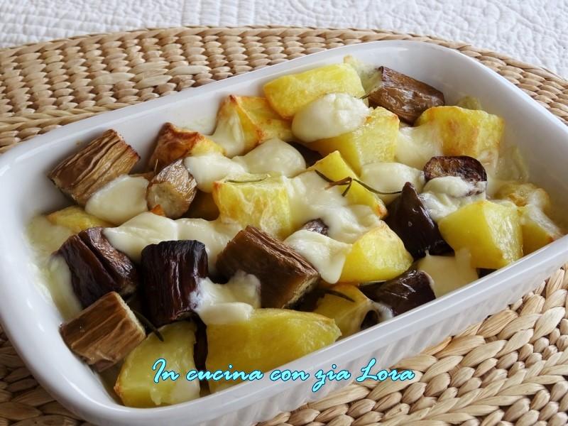 melanzane olivia con patate e mozzarella