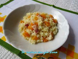 risotto con zucca gialla e pancetta affumicata