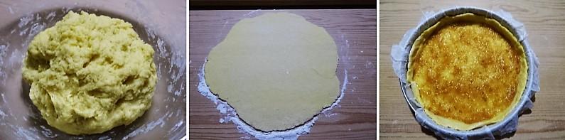 preparazione della base per la crostata con ricotta e cioccolato