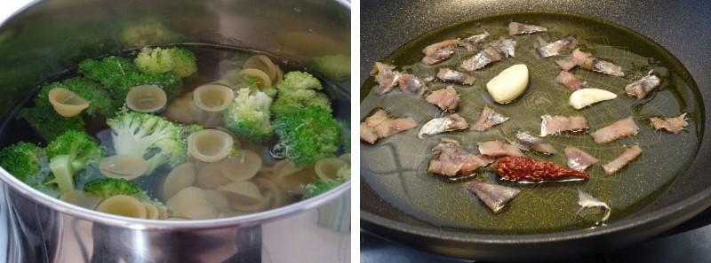 preparazione delle orecchiette con broccoli e acciughe
