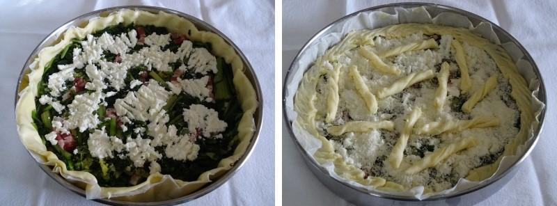 preparazione torta salata con verdure saporita