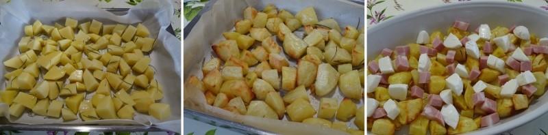preparazione delle patate al forno con mozzarella e mortadella