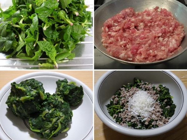 preparazione del ripieno per il rotolo con spinaci e salsiccia ricetta umbra