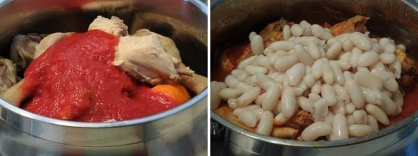 preparazione della gallina in umido con fagioli