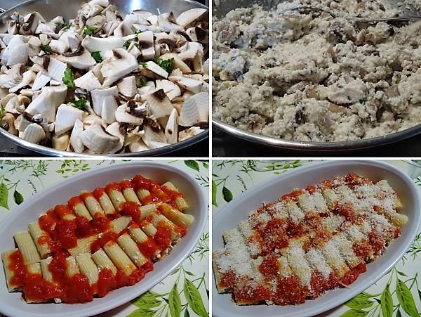 preparazione dei gigantoni al forno ripieni di ricotta e funghi