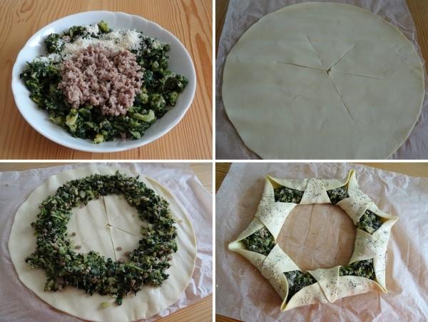 preparazione della torta salata natalizia centrotavola