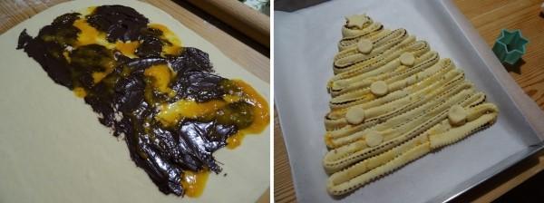 preparazione della torta albero di natale con cioccolata e riduzione di arancia