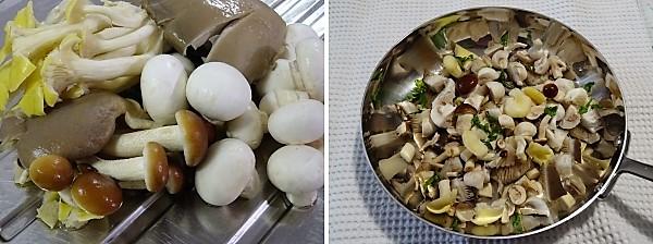 preparazione dei funghi per la pasta alla norcina ricetta tipica dell'Umbria