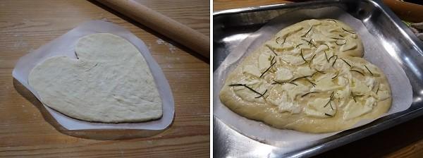 preparazione della pizza cuore per San Valentino