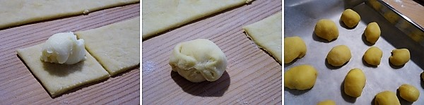 preparazione delle castagnole al forno alla crema