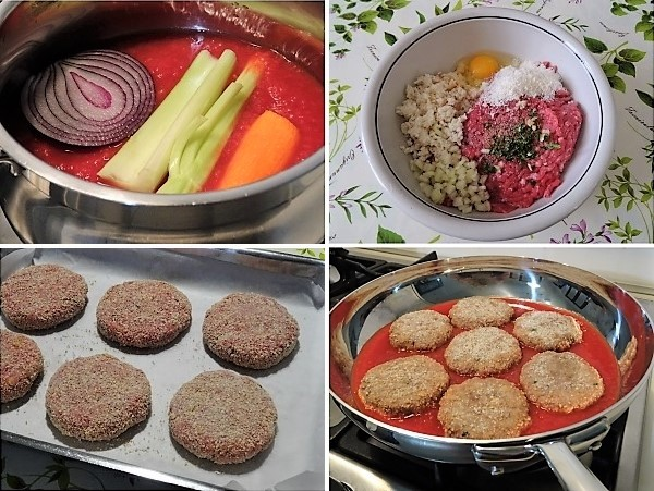 preparazione delle polpette ripassate in salsa di pomodoro