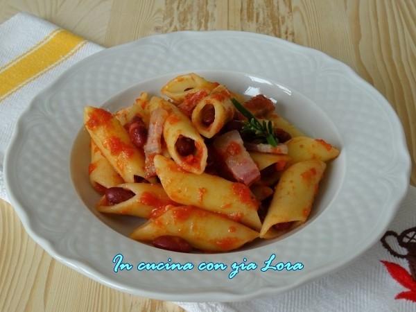 pennoni con fagioli e pancetta