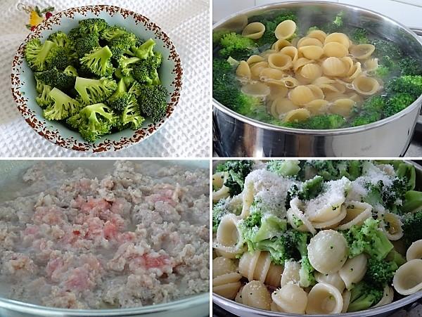 preparazione delle orecchiette con broccoli e salsiccia