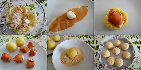 preparazione delle polpette di patate con cuore filante